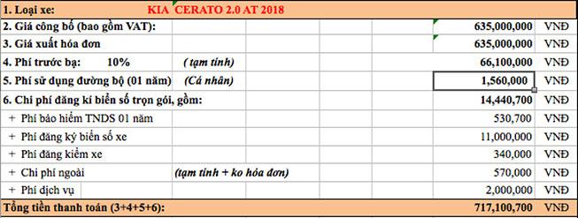 Giá lăn bánh Kia Cerato 2.0 AT : 717.100.700 VNĐ