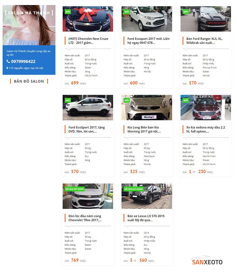 Hình ảnh một trong các giao diện salon trên sanxeoto.com