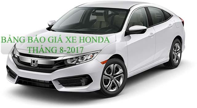Bảng giá xe ô tô Honda tháng 8-2017