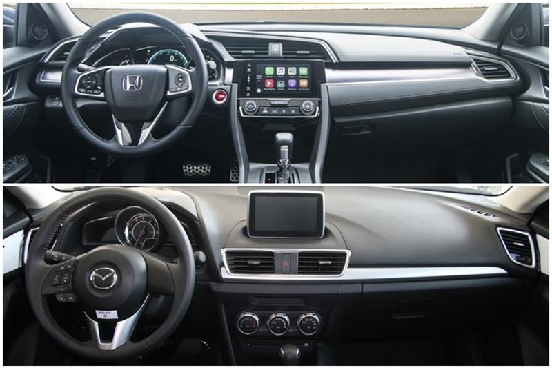 So sánh xe Honda Civic và Mazda3 sedan 3